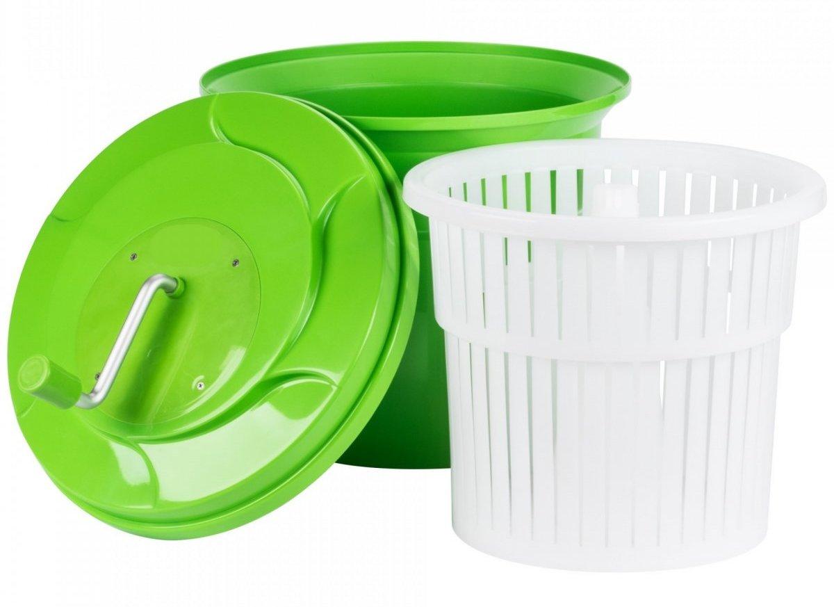 Сушки для зелени от компании Нормак — простые в использовании, имеют удобную ручку для вращения и дренажную систему.